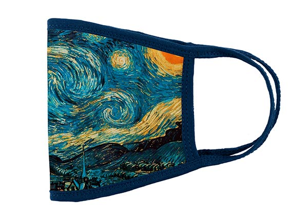 Side of Cotton Face Mask With a Filter Pocket and Printed Starry Night Interactive Animation