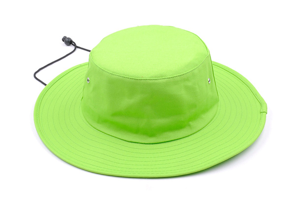 Overview of Neon Green Bucket Hat with String