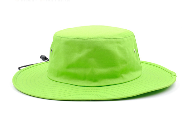 Front of Neon Green Bucket Hat with String