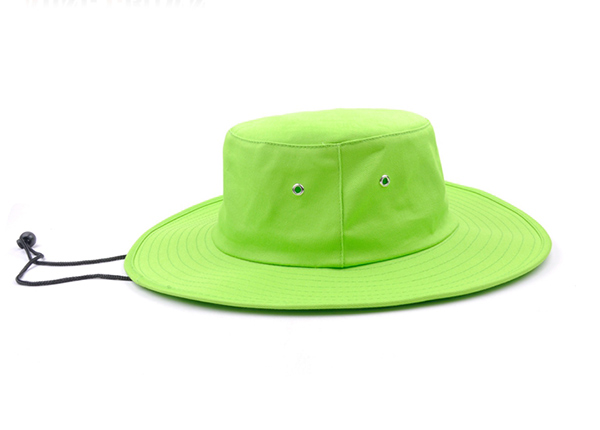 Side of Neon Green Bucket Hat with String