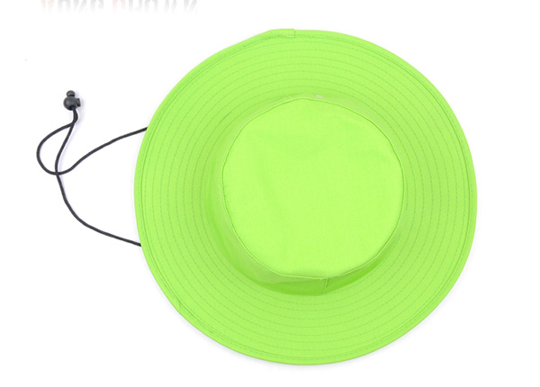 Top of Neon Green Bucket Hat with String