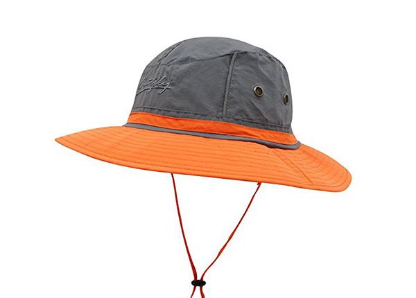 Slant of Wide Brim Blank Nylon Bucket Hat With String