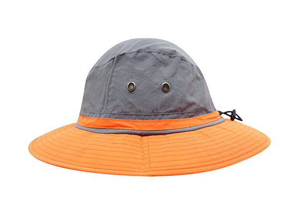Side of Wide Brim Blank Nylon Bucket Hat With String
