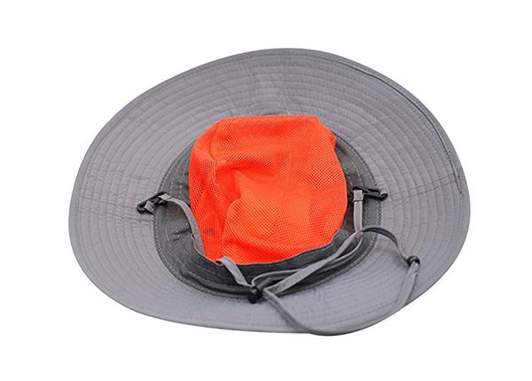 Inside of Wide Brim Blank Nylon Bucket Hat With String