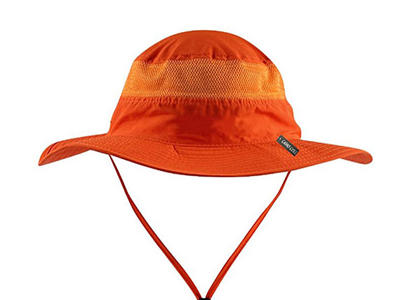 Front of Wide Brim Blank Nylon Bucket Hat With String