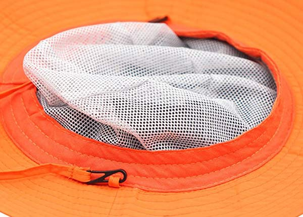 Detail of Wide Brim Blank Nylon Bucket Hat With String