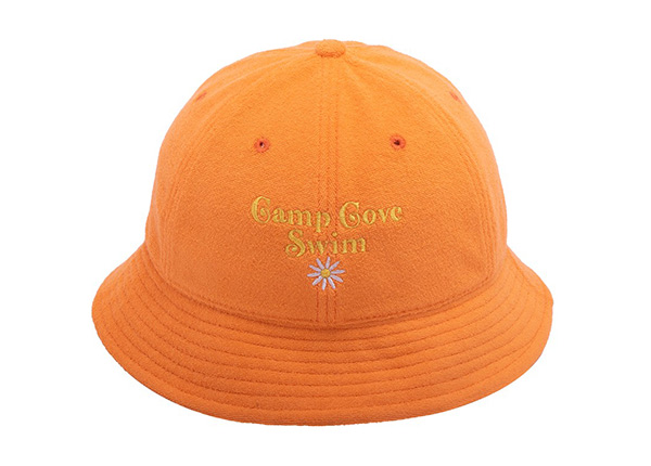 Front of 6 Panel Embroidered Terry Towel Orange Bucket Hat