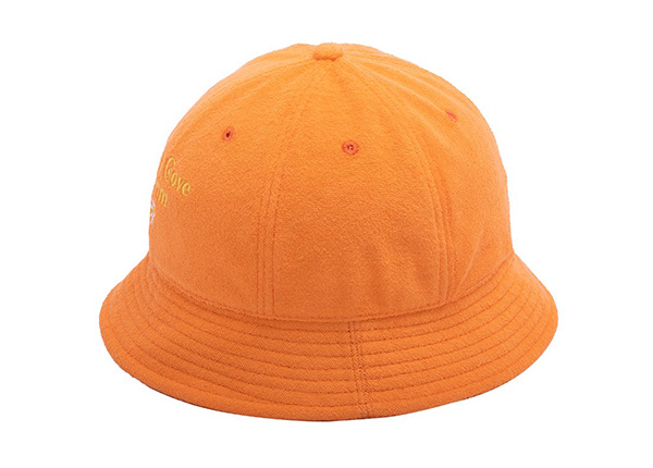 Slant of 6 Panel Embroidered Terry Towel Orange Bucket Hat