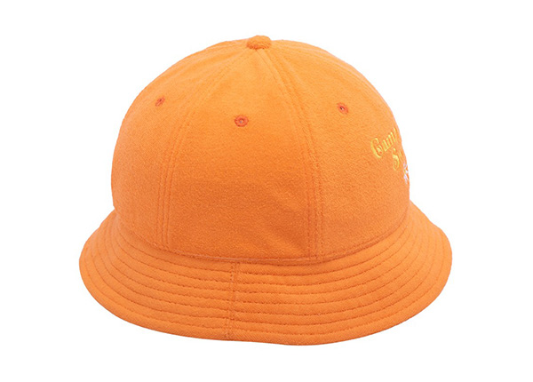 Side of 6 Panel Embroidered Terry Towel Orange Bucket Hat
