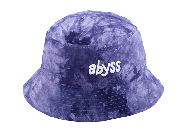 Front of Cotton Purple Bucket Hat with White Embroidered Logo