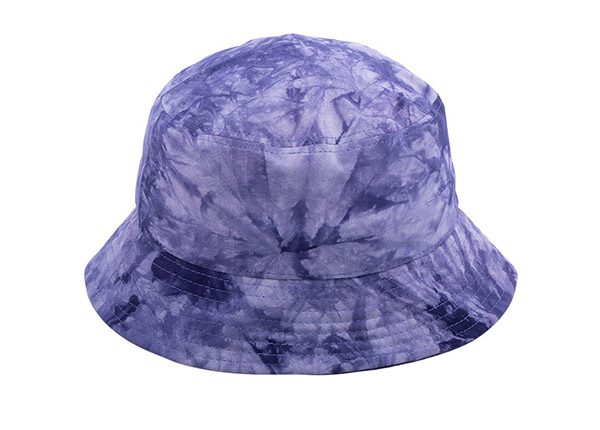Back of Cotton Purple Bucket Hat with White Embroidered Logo
