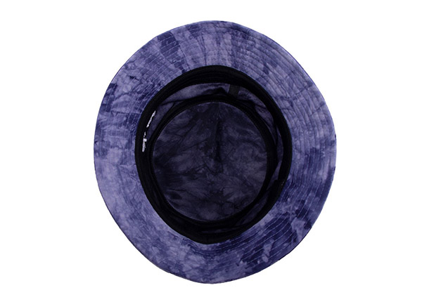 Inside of Cotton Purple Bucket Hat with White Embroidered Logo