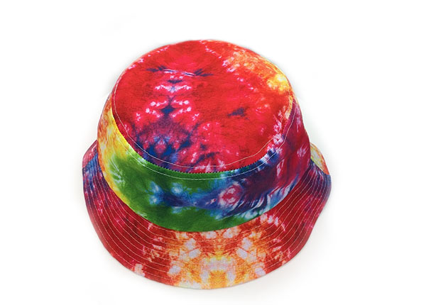 Top of Colorful Rainbow Tie Dye Bucket Hat