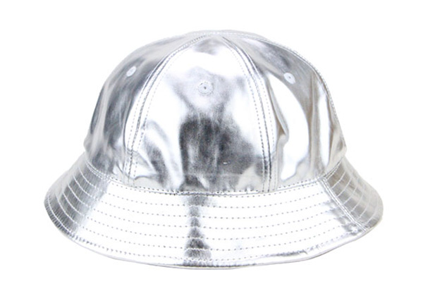 Front of 6 Panel Blank Waterproof PU Reflective Bucket Hat