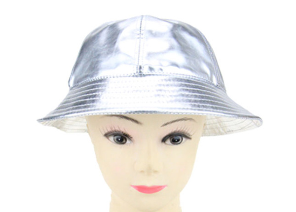 Front of 6 Panel Blank Waterproof PU Reflective Bucket Hat In Model