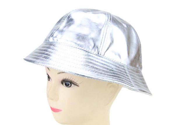 Slant of 6 Panel Blank Waterproof PU Reflective Bucket Hat