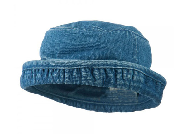 Roll Up Bucket Hat Classic Blue Cotton Twill Roll Up Hat For Wholesale