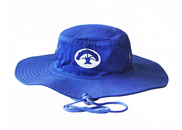 Front of Wide Brim Royal Blue Bucket Hat With String