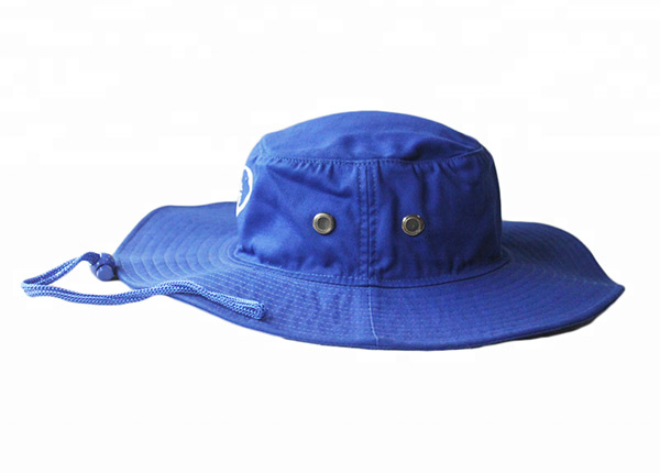 Side of Wide Brim Royal Blue Bucket Hat With String