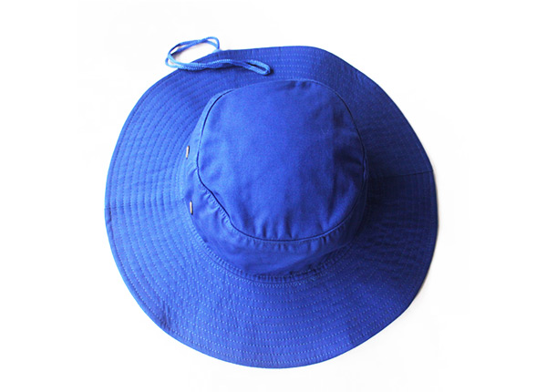 Top of Wide Brim Royal Blue Bucket Hat With String