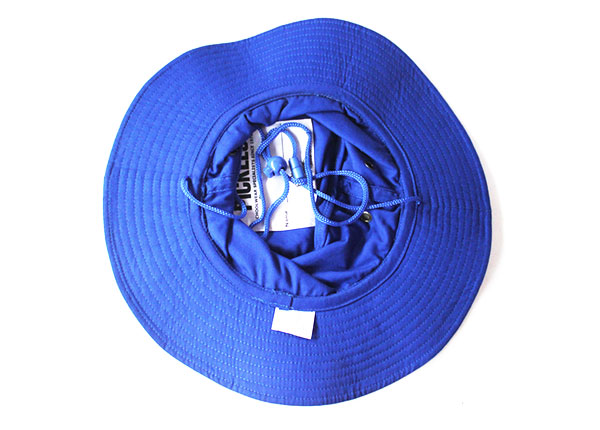 Inside of Wide Brim Royal Blue Bucket Hat With String