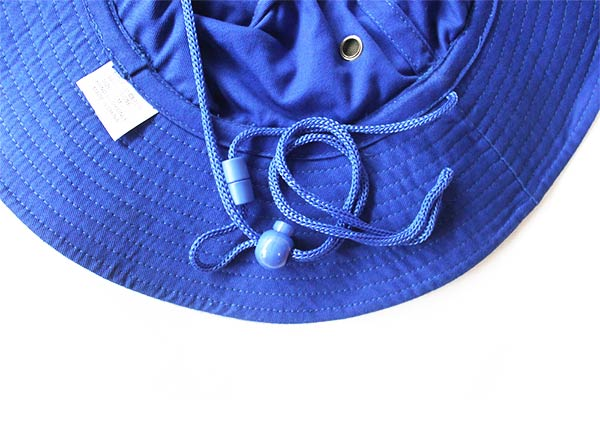 String of Wide Brim Royal Blue Bucket Hat With String
