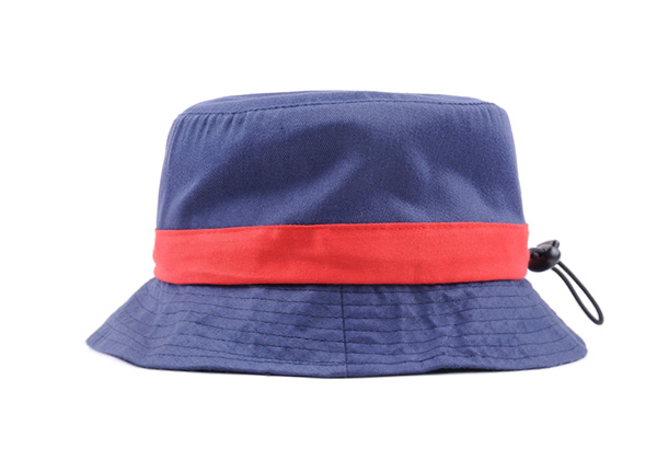 Front of Plain Blue Cotton Short Brim Bucket Hat With Red Ribbon