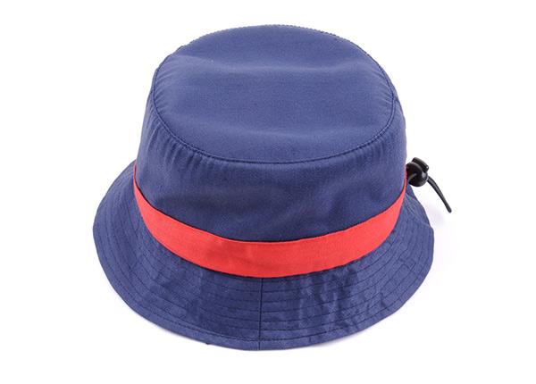 Slant of Plain Blue Cotton Short Brim Bucket Hat With Red Ribbon