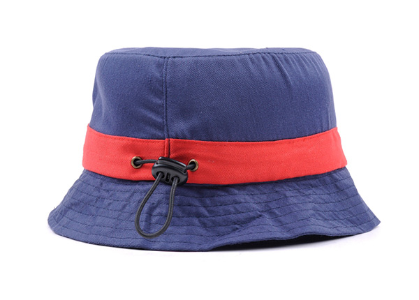 Side of Plain Blue Cotton Short Brim Bucket Hat With Red Ribbon