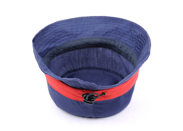 Inside of Plain Blue Cotton Short Brim Bucket Hat With Red Ribbon