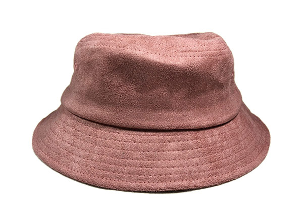 Front of Mens Blank Brown Faux Suede Bucket Hat