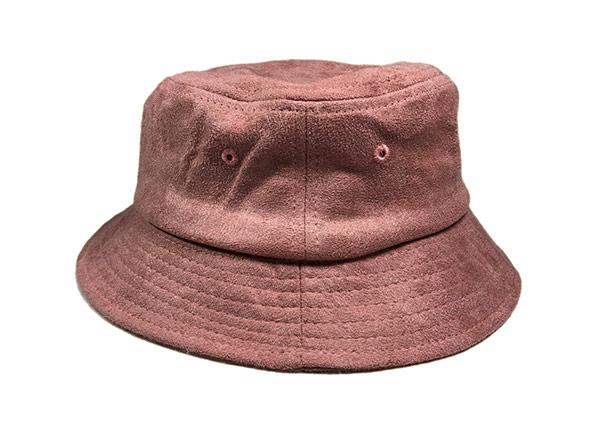 Side of Mens Blank Brown Faux Suede Bucket Hat