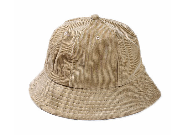 Front of 6 Panel Blank Corduroy Tan Bucket Hat