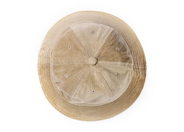 Top of 6 Panel Blank Corduroy Tan Bucket Hat