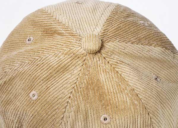 Top Button of 6 Panel Blank Corduroy Tan Bucket Hat