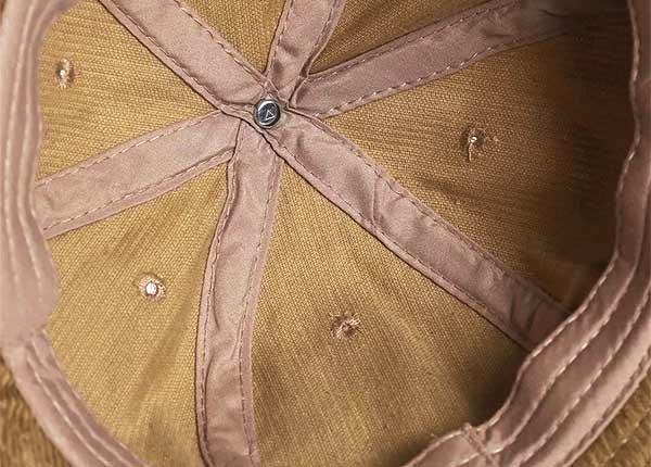 Inside of 6 Panel Blank Corduroy Tan Bucket Hat