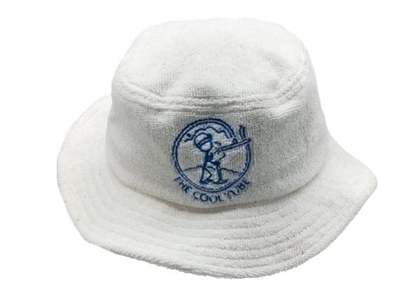 Front of White Terry Cloth Bucket Hat with Embroidered Logo