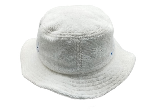 Side of White Terry Cloth Bucket Hat with Embroidered Logo