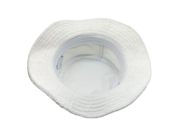 Inside of White Terry Cloth Bucket Hat with Embroidered Logo
