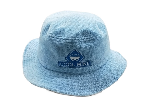 Front of Blue Terry Cloth Bucket Hat with Embroidered Logo
