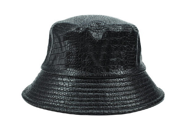 Waterproof Bucket Hat Black Blank Leather Rain Bucket Hat For Mens and Womens