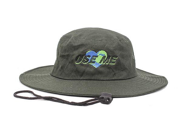 Stiff Brim Boonie Hat Custom Blackish Green Wide Brim Bucket Hat With String