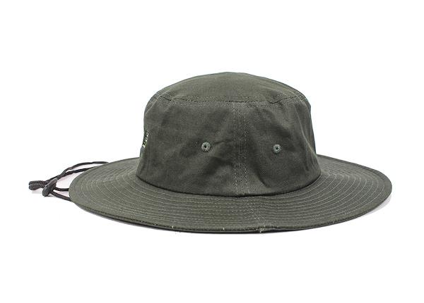 Side of Blackish Green Stiff Brim Boonie Hat With String
