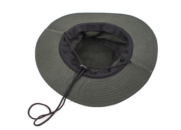 Inside of Blackish Green Stiff Brim Boonie Hat With String