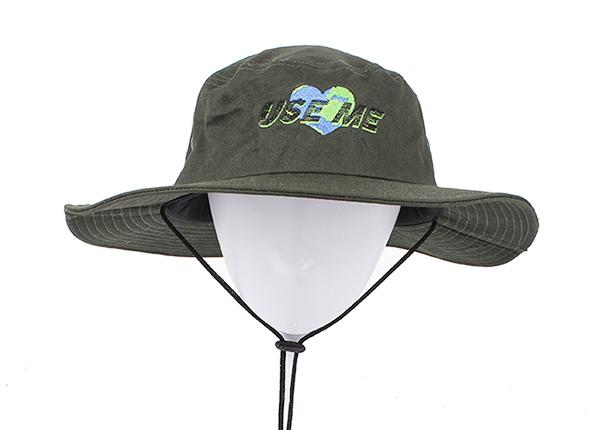 Front of Blackish Green Stiff Brim Boonie Hat With String In Model