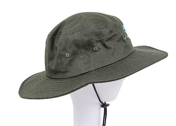 Side of Blackish Green Stiff Brim Boonie Hat With String In Model