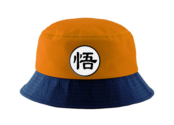 Front of Orange Cotton Anime Bucket Hat Featuring a Chinese Word Logo and a Navy Brim