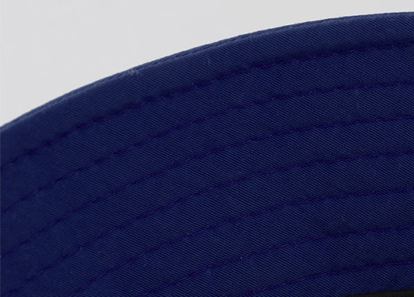 Stitching of Orange Cotton Anime Bucket Hat Featuring a Chinese Word Logo and a Navy Brim