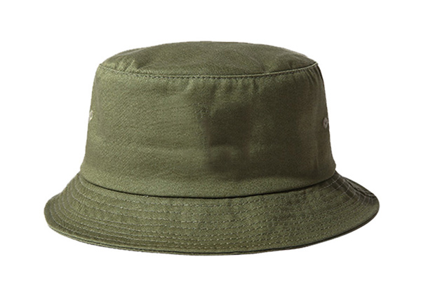 Front of Blank Cotton Olive Green Bucket Hat