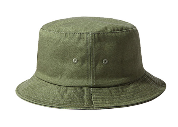 Side of Blank Cotton Olive Green Bucket Hat